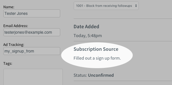 Subscription Source is Filled Out Sign Up Form