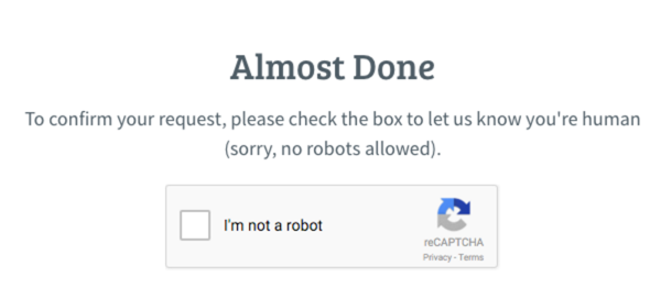 Captcha page to check for robot