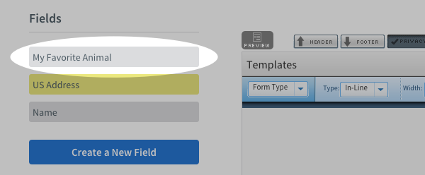 Select the custom field for the tag