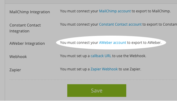 Select AWeber and click Aweber account
