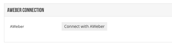 Click Connect with AWeber
