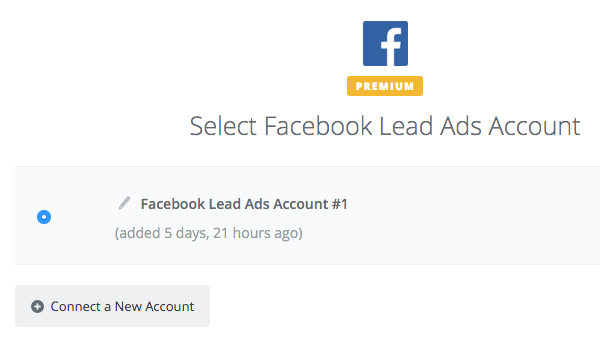 Selct your Facebook Lead Ads account