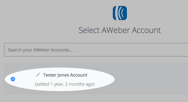 Select your AWeber account