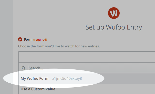 Select the form from Set up Wufoo entry