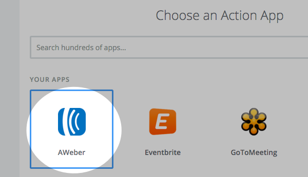 Select AWeber from the Action apps