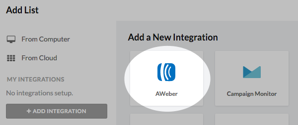 Add integration then AWeber