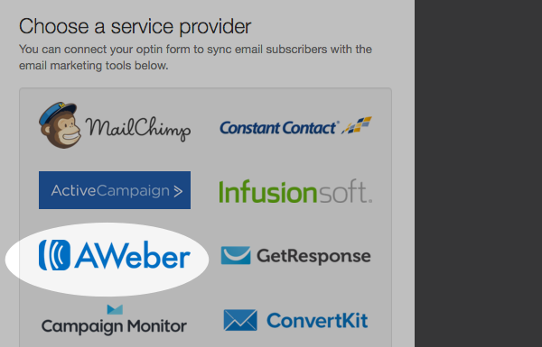 Select AWeber from Choose a Service Provider