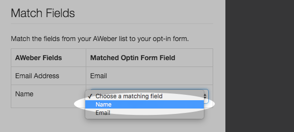 Match your form fields