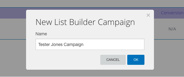 Name your campaign and click OK