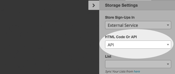 HTML and API options drop down menu