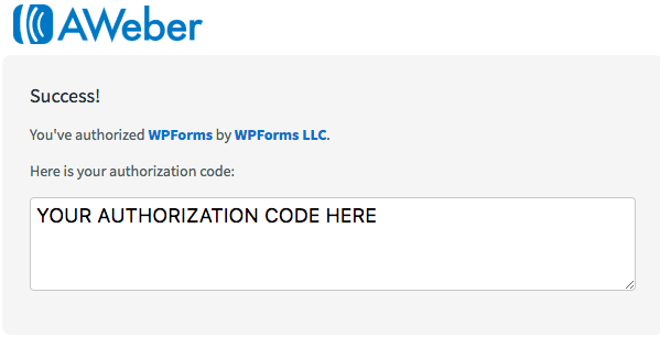 Highlight the authorization code