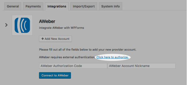 Click here to authorize option